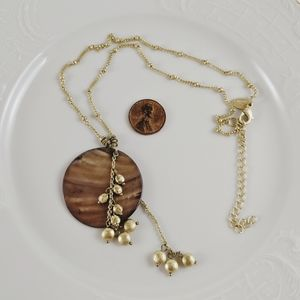Lia Sophia Gold Tone Brown Natural Shell Necklace